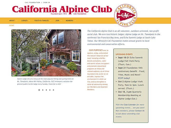 California Alpine Club, web development